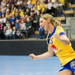 160315 Sveriges Marie Wall jublar under trŠningsmatchen i handboll mellan Sverige och RumŠnien den 15 mars 2016 i Kristianstad. Foto: Avdo Bilkanovic / BILDBYRN / COP 115