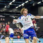 170424 Ystads Anton HallbŠck jublar efter mŒl under kvartsfinal 4 i SM-slutspelet i handboll mellan Ystad och Lugi den 24 april 2017 i Ystad. Foto: Christian …rnberg / BILDBYRN / Cop 166