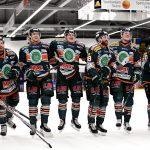 170413 Kristianstads spelare jublar efter ishockeymatchen i kvalet till Hockeyallsvenskan mellan Kristianstad och Troja den 13 april 2017 i Kristianstad. Foto: Petter Arvidson / BILDBYRN / kod PA / 91760