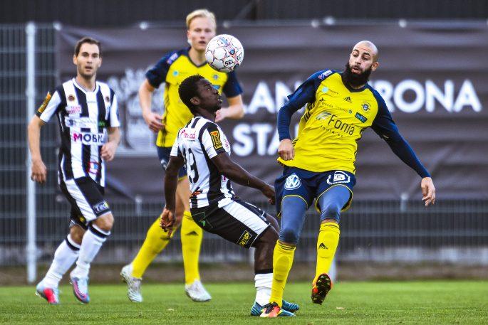 170924 Landskronas Thierry Zahui under fotbollsmatchen i Division 1 Sšdra mellan Landskrona och €ngelholm den 24 september 2017 i Landskrona. Foto: Avdo Bilkanovic / BILDBYRN / COP115