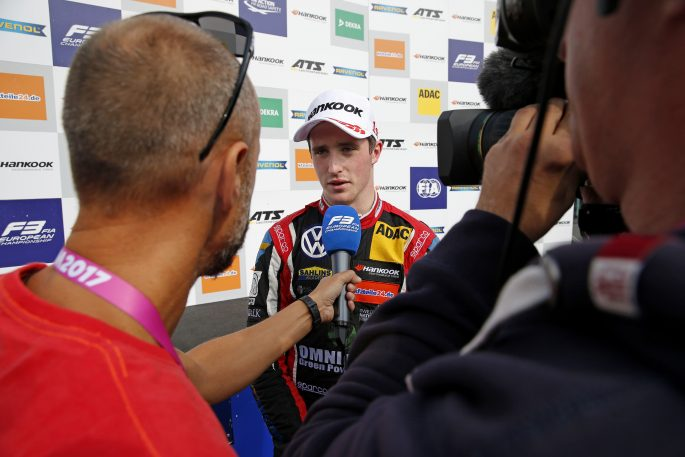 TV-Interview, 1 Joel Eriksson (SWE, Motopark, Dallara F317 - Volkswagen), FIA Formula 3 European Championship, round 9, race 2, Red Bull Ring (AUT), 21. - 23. September 2017 *** Local Caption *** +++ www.suer.photography +++ copyright: suer.photo / Thomas Suer +++